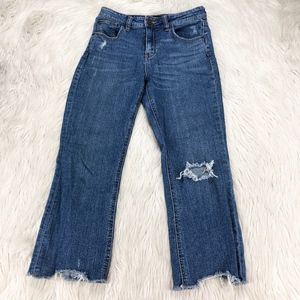 BDG Cropped High-Rise Kick Flare Distressed Jeans